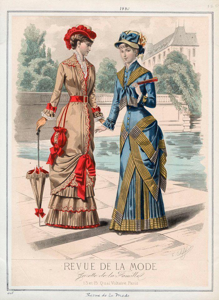"Fashion Plate extraído de la revista ""Revue de la Mode"" 1880 I like how it hung from the waist."