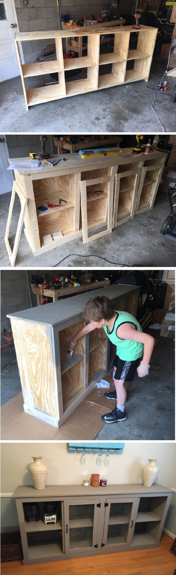 Skip the high price tags at the furniture store and opt to build your very own DIY buffet stand for your dining room. This chic storage piece is as functional as it is stylish—brought to life by Wise Adventures Blog.