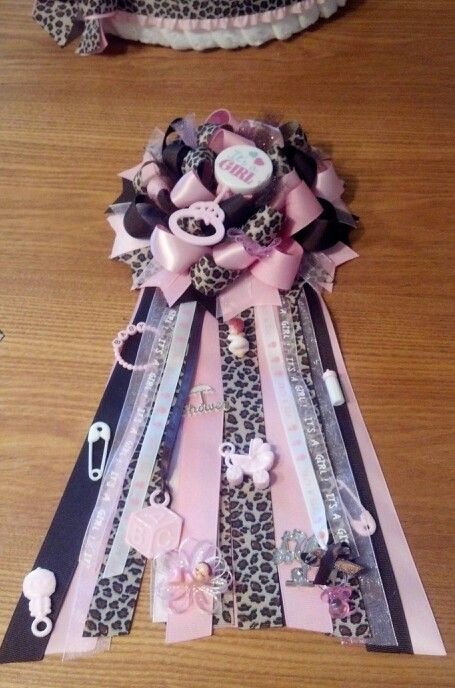 Pink & leopard baby shower mum I made