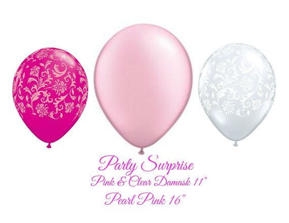 Pink and Clear Balloons Pink Damask Clear Damask Pastel Pearl