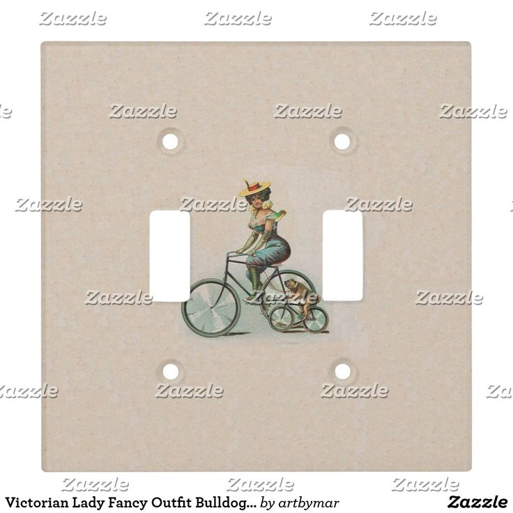 Victorian Lady Fancy Outfit Bulldog Riding Bicycle Light Switch Cover