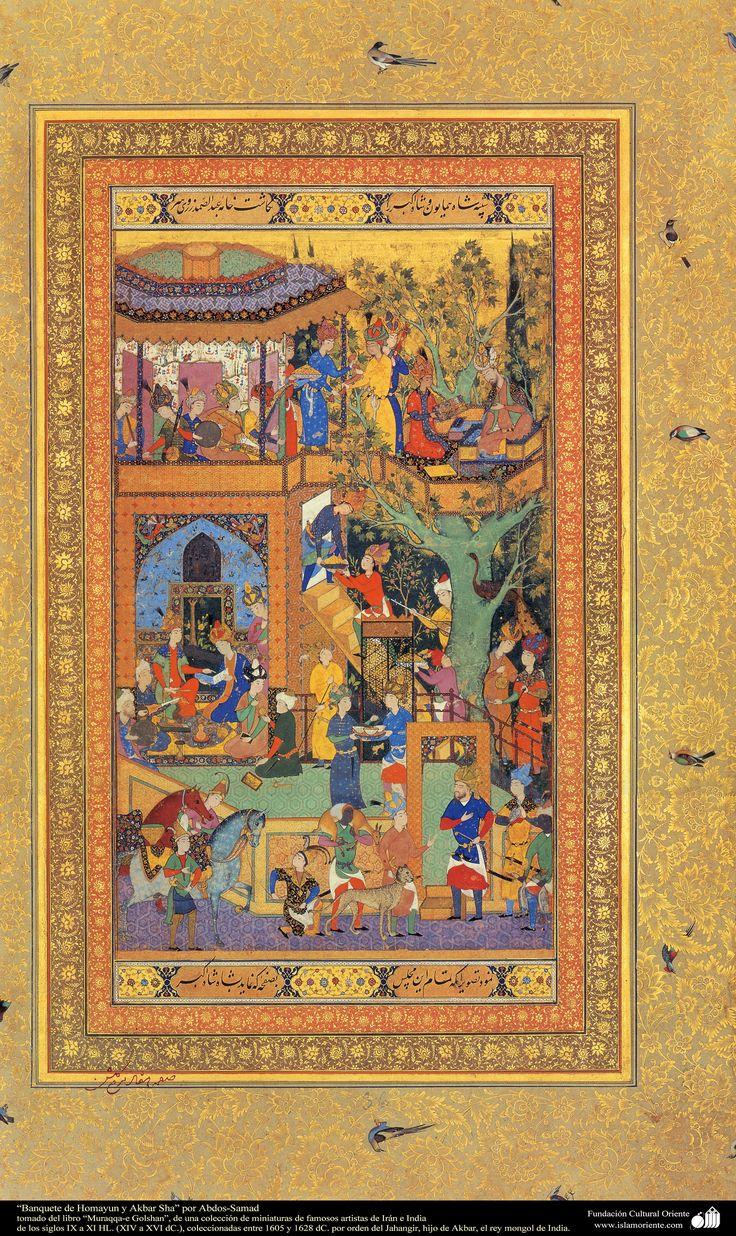 """Feast of Homayun and Akbar Shah"" by Abs-Samad - miniature book ""Muraqqa-e Golshan"" - 1605 and 1628 AD شاهکار مینیاتور فارسی - جشن همایون و اکبر شاه - کتاب کوچک مرقع گلشن - 1605،1628"