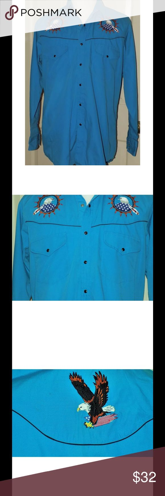 ROCK CREEK RANCH Turquoise Embroidered Western ROCK CREEK RANCH Turquoise EAGLE Embroidered Western Shirt  Size M rock creek ranch Shirts