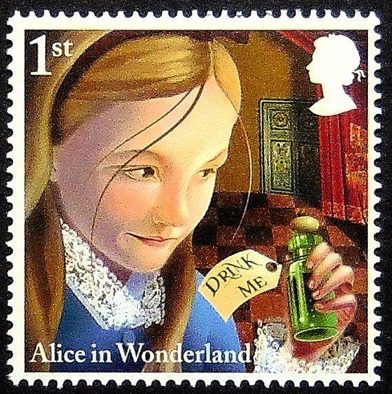 Alice im Wunderland-handgemachte Briefmarke Kunst 13332