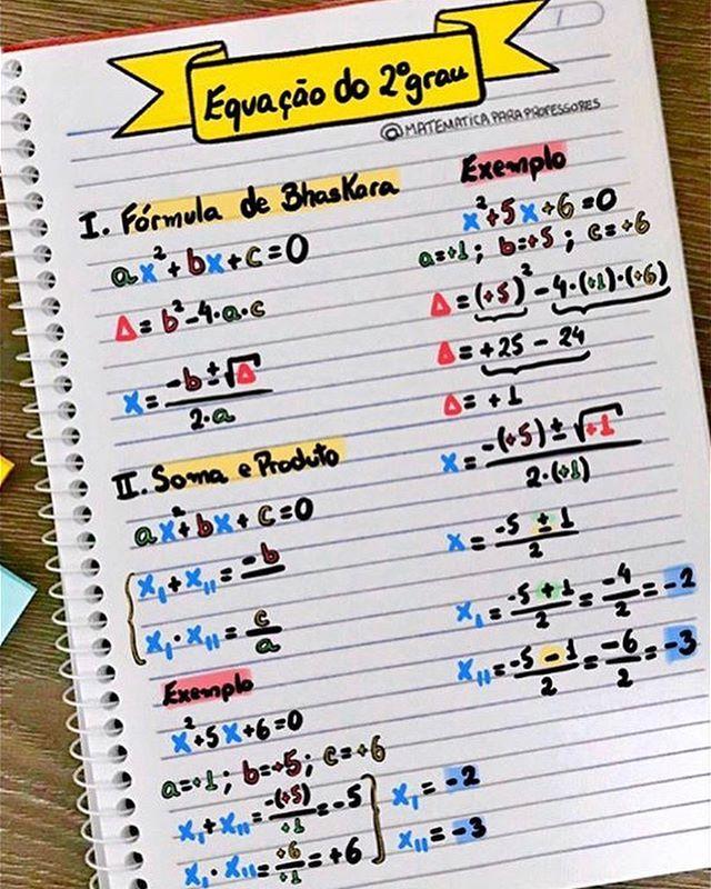 Matematica Para Professores No Instagram Equacao Do 2º Grau Importante Formula De Bhaskara Bhaskara Matematica