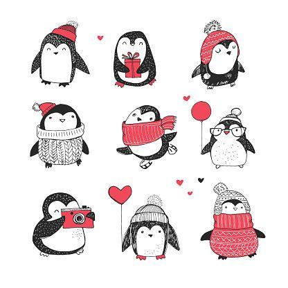 Симпатичные рисованной пингвины набор - С Рождеством Христовым поздравление векторные искусства иллюстрации