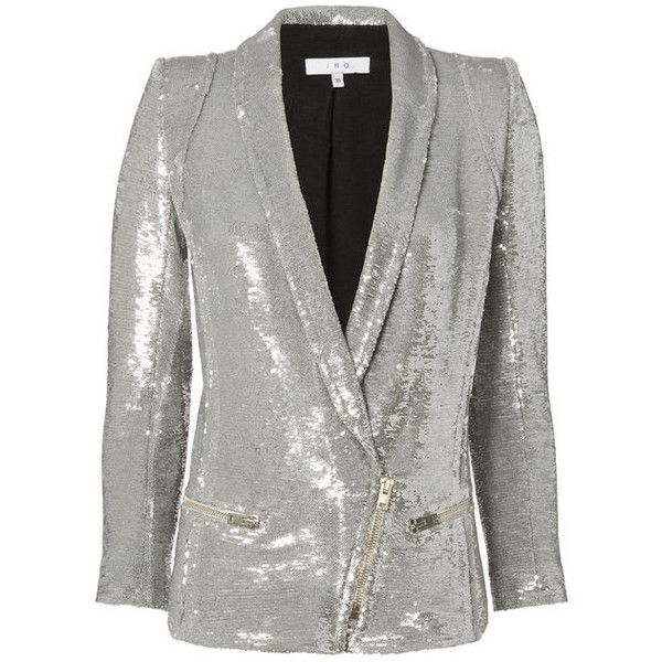 Iro Silver Sequin Blazer ($995) ❤ liked on Polyvore featuring outerwear, jackets, blazers, metallic, sequin jacket, silver sequin blazer, metallic jacket, silver blazer and silver jacket