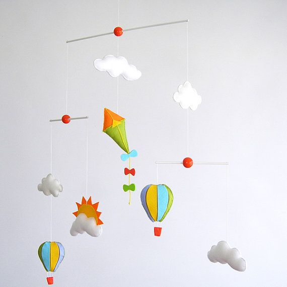 Poetic Flying Kite, air balloon and Clouds, Baby Crib Deco Mobile. Choose your colors for an unique baby nursery mobile
