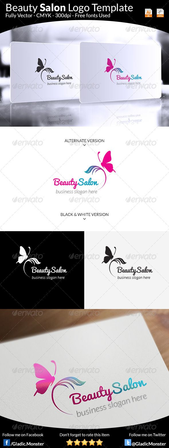 Beauty Salon Logo — Vector EPS #spa #beauty • Download here → https://graphicriver.net/item/beauty-salon-logo-/8184353?ref=pxcr