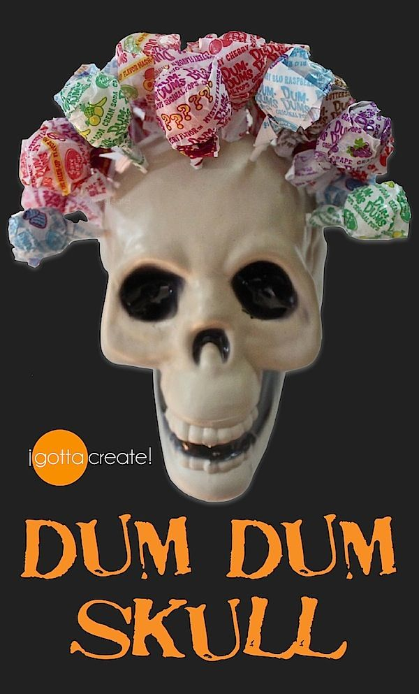 "Transform a cheap plastic skull into a lollipop holder for Halloween. Looks like a Dia de los Muertos rose garland headdress, lovely! Instructions at ""I Gotta Create"". Rad craft."