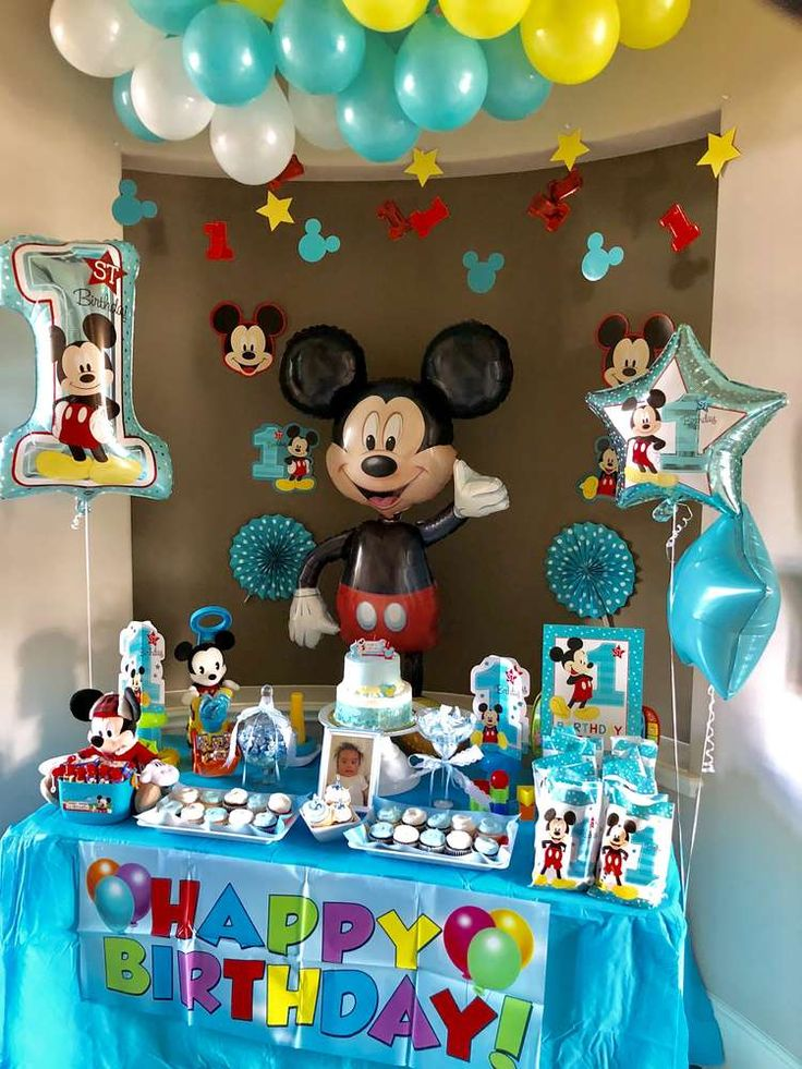 Check out this fun Mickey Mouse Birthday Party! The dessert table is so much fun!! See more party ideas and share yours at CatchMyParty.com #mickey #party