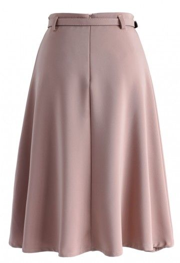 You may need to do away with your go-to black pencil skirt for the office. Color your look with this Savvy Basic-belted A-line skirt. Its pretty pink hue is the perfect pastel to bring out your wardrobe this summer while maintaining your subtle, simplistic style.   - Belt accompanied  - Concealed back zip closure - Lined - 100% polyester - Hand wash   Size(cm)Length   Waist XS              66         62 S                 66        66 M               66        70 L                 66      …