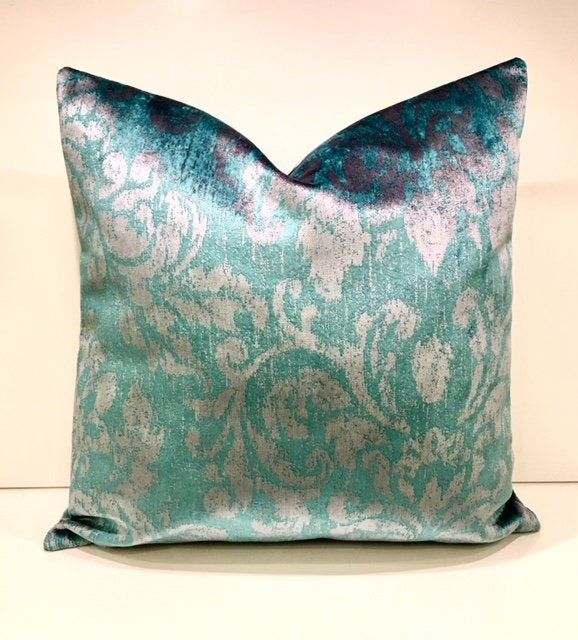 Luxury Turquoise Blue Velvet Throw Pillow Pillow Cover Turquoise Decorative Pillow Throw Pillow Velvet Velvet Pillows Designer Fabric Pillows Blue Cushions