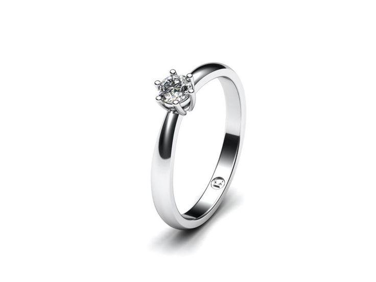 Jemný prsten z bílého, žlutého nebo červeného zlata v lesklém provedení. Jeden velký 4,00mm (0,24 ct.) kámen zasazen do korunky.