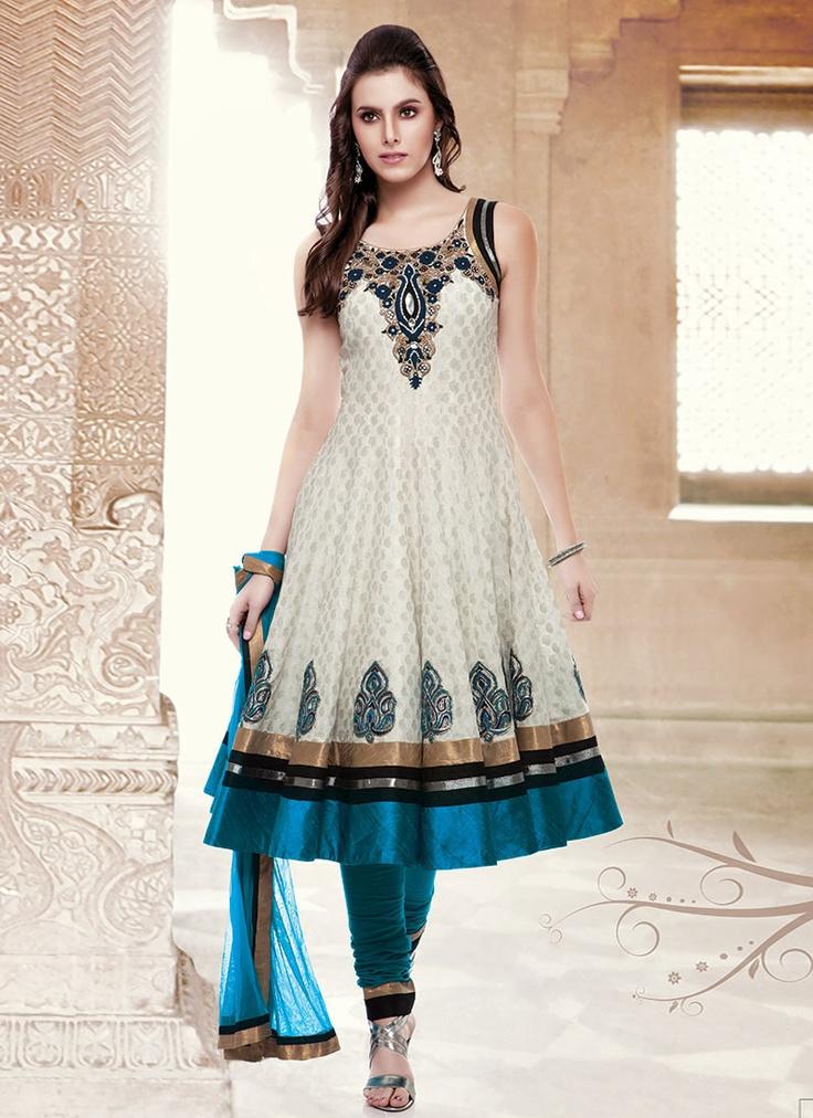 Off White Cotton Jacquard Anarkali Suit