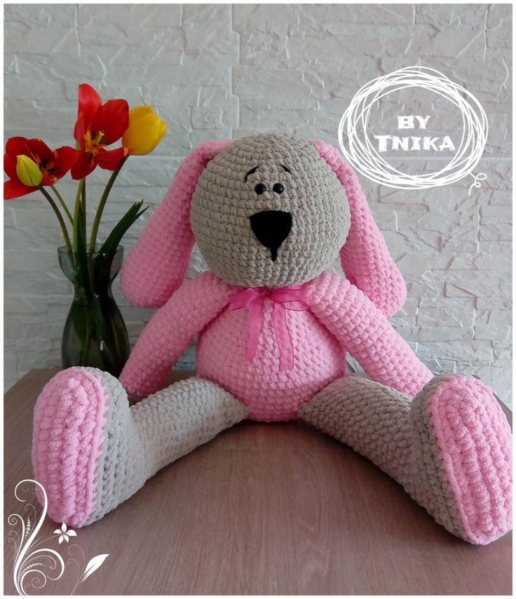 ALFREDO big bunny - crochet - háčkovaný zajíček na mazlení.