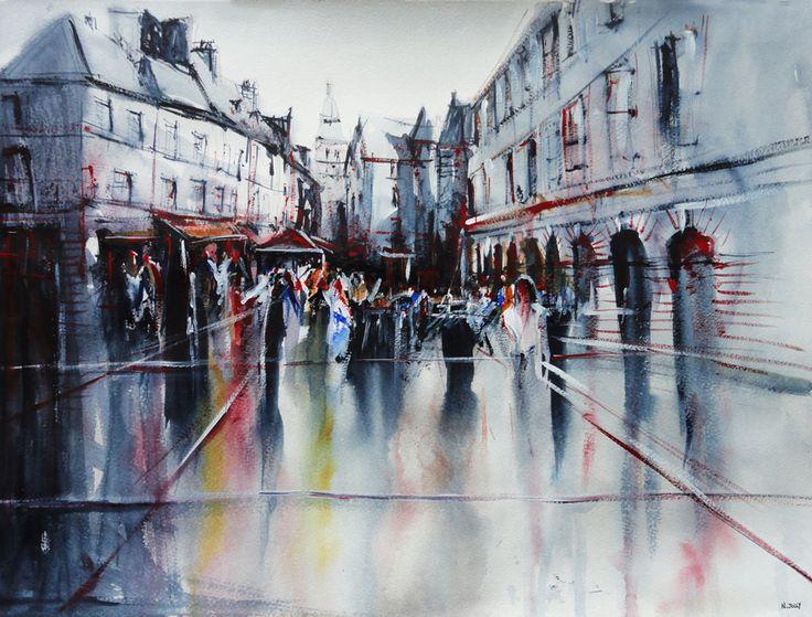 Sarlat après la pluie - Watercolor painting / Aquarelle