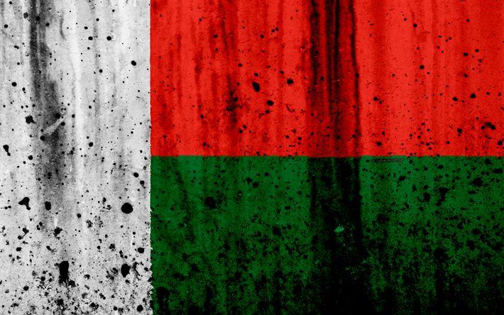 Download wallpapers Madagascar flag, 4k, grunge, flag of Madagascar, Africa, Madagascar, national symbols, Madagascar national flag
