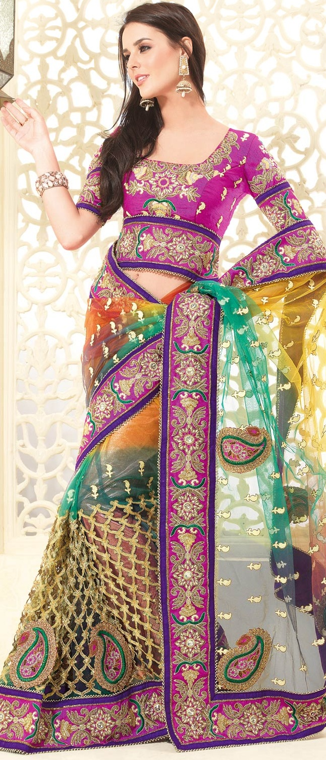 #Orange and Green Net #Saree with Blouse @ $186.78