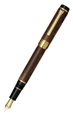 Sailor Precious Wood Kabazaiku Cherry Bark Fountain Pen with Gold Accents