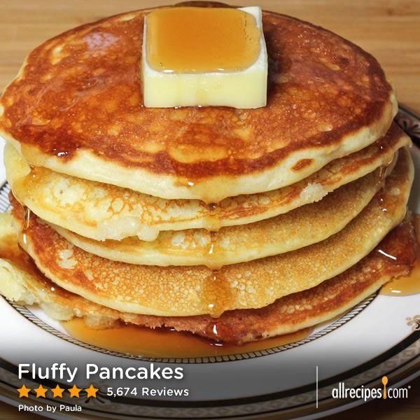 Fluffy Pancakes ... Over 5,000 people think this is a 5-star recipe. Now that's impressive!! | 3/4 C milk, 2 TB white vinegar, 1 C all-purpose flour, 2 TB white sugar, 1 tsp. baking powder, 1/2 tsp. baking soda, 1/2 tsp.salt, 1 egg, 2 TB butter (melted), cooking spray