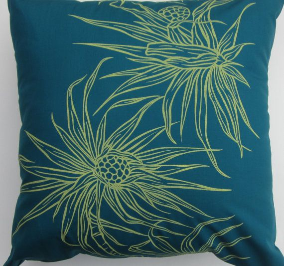 teal pillow cover pineapple on teal background 16 x16