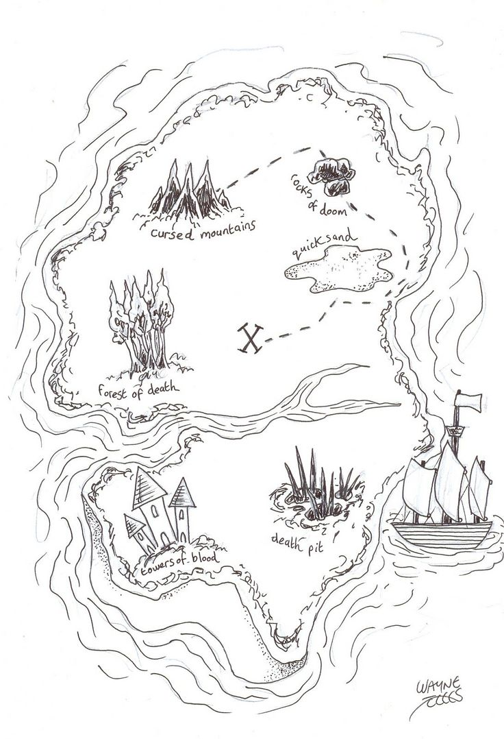Treasure Map Coloring Pages for Pirate treasure maps