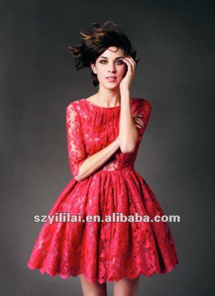 Me001 nueva moda de encaje rojo la mitad de las mangas cortos de fiesta/vestido de noche-Vestido de noche-Identificación del producto:576461...