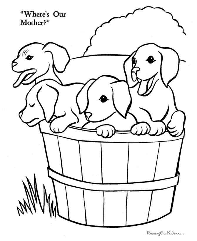 Printable Free Puppies On The Farm Coloring Page