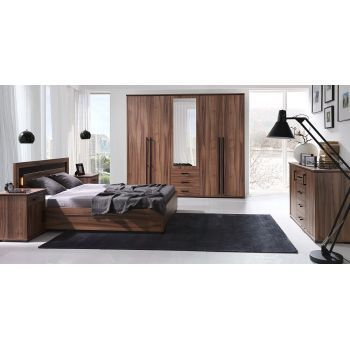 Set Dormitor Maximus complet, Modern. Culoare: Nuc. Material: Pal melaminat