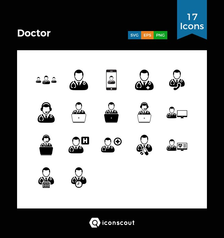 Doctor  Icon Pack - 17 Solid Icons