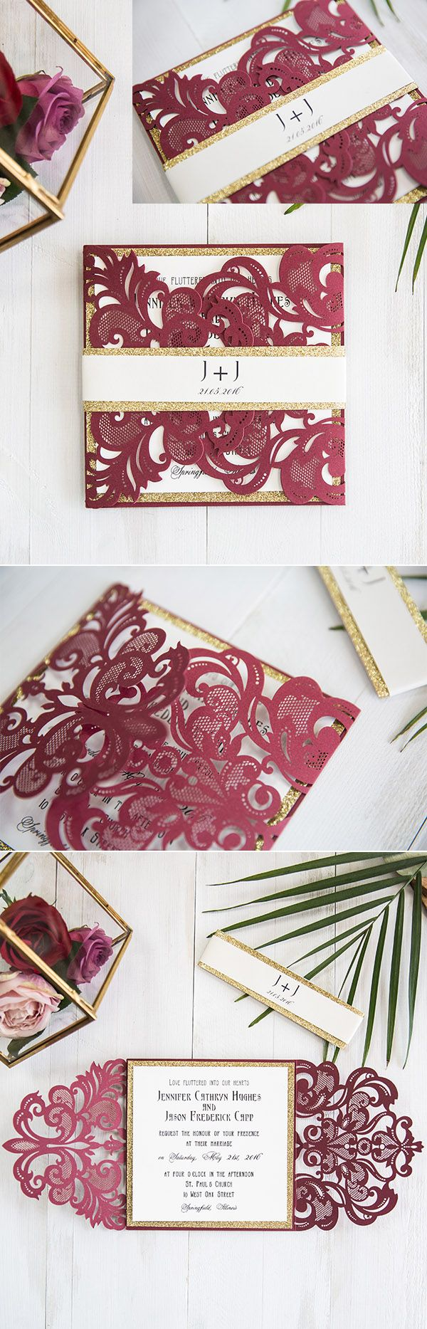 stunning burgundy/ marsala and gold laser cut wedding invitations