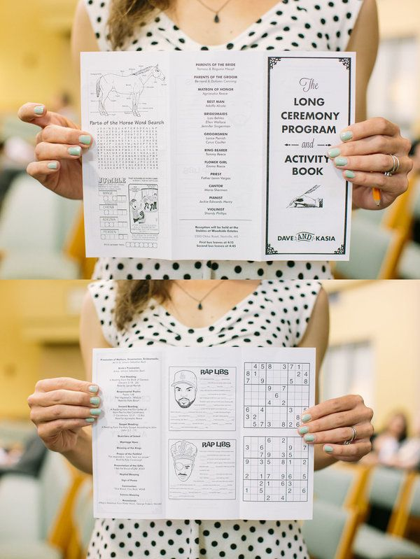 Hand out a brilliant, boredom-reducing wedding program your guests will love   Jenn Emerling Photography