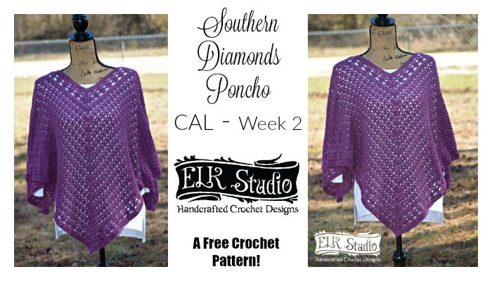 Yay! The Southern Diamonds Poncho Crochet-Along is finally here! Get your yarn and hook moving because we've got a poncho to make! I'm so excited!