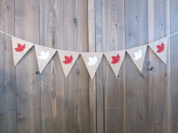 Maple leaf burlap banner Canada Day banner by willowbloomwreaths