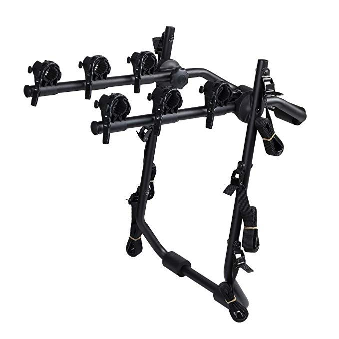 Overdrive Sport 3 Bike Trunk Mounted Bicycle Carrier Rack Fits Most Sedans Hatchbacks Minivans And Suvs Review Bike Panniers Bike Hatchback