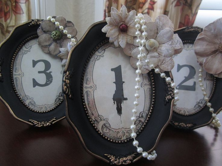 Wedding Table Numbers 5 Vintage Steampunk Shabby Chic Vintage Style Black Framed. $65.00, via Etsy.
