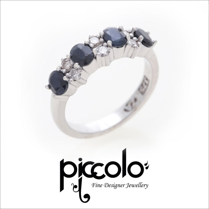 Neela | Oval cut Sapphires combined with Brilliant Round Cut White Diamonds set in White Gold Contact us for your custom designed dress ring | info@piccolo-jewellery.co.za #sapphire #diamonds #dressring #jewellery #whitegold