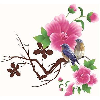 vegg klistremerker Veggdekor, stil fuglenes og duft av blomster pvc vegg klistremerker - NOK kr. 149