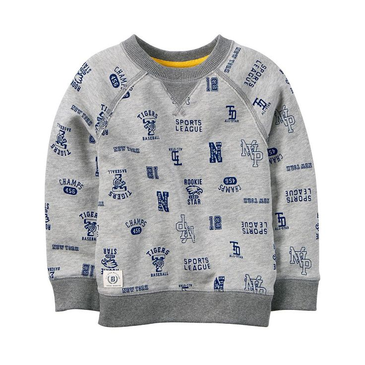 Toddler Boy Carter's Gray Sports Fan Printed Pullover Top, Size: 4T, Ovrfl Oth