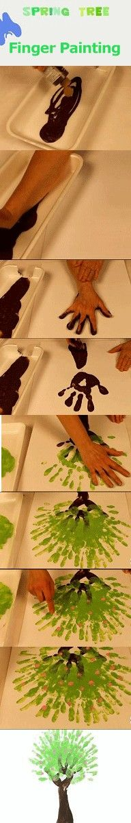 Easy finger painting craft for kids.  Finger painted Spring Tree.