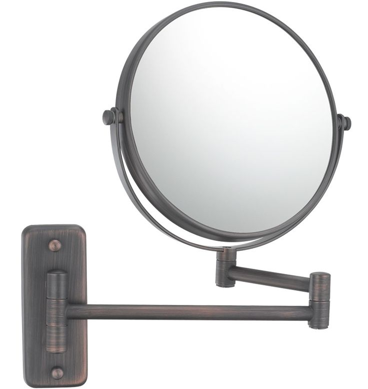 Wall Mounted Makeup Mirror - Double-Arm is an articulated arm two-sided mirror with 1X and 5X magnification.