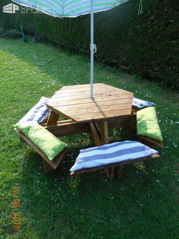 17 best ideas about pallet picnic tables on pinterest. Black Bedroom Furniture Sets. Home Design Ideas