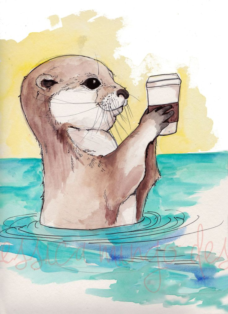 River Otter and His Latte Otter Print Otter by JessicaMingoDesigns