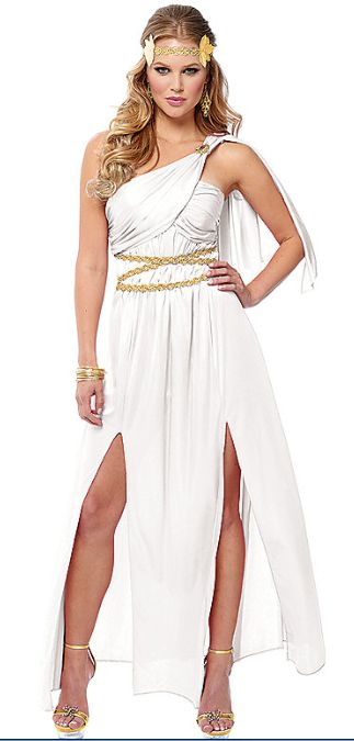 Athena White Halloween Costume $39.99 ------ white with gold accents. spirit Halloween. ideas. fall. roman beauty. goddess.