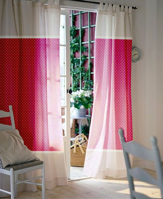 Baby nursery curtains / Pink curtains / Kids curtains / Pair of 96L 46W inch Curtain Panels with baby pink polka dot and stripes cotton