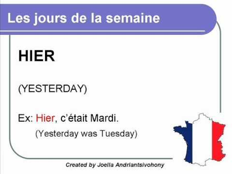 French lesson 5 - Les jours de la semaine (The days of the week) Dias de la semana Clases de Frances
