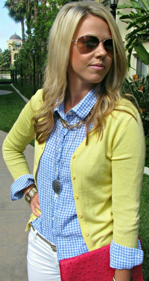 blue gingham, white pants, yellow cardi