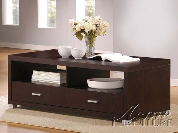 Modern Wood Espresso Rectangular Drawer Coffee Table And End Table Set