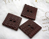 My friend makes gorgeous buttons: red zigzag square ceramic buttons - three medium-largeMy Friend
